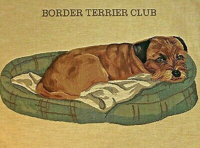 "Border Terrier in Bed Napping CUTE 18"" Belgian Tapestry Pillowcase w/Zipper"