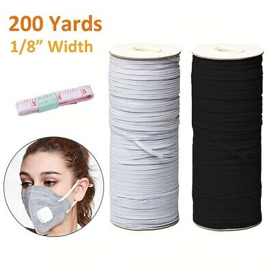 "Flat Braided Elastic Band Roll 1/8"" (3mm) width White/ Black 200 Yards Roll"