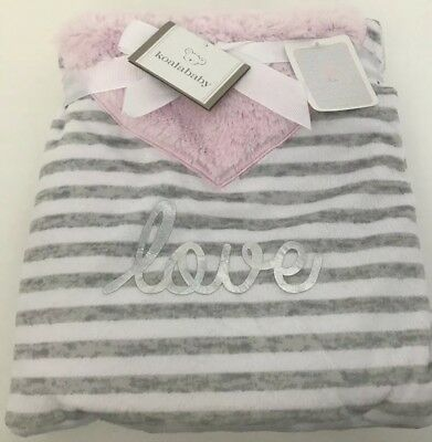 Koala Baby Grey White Pink LOVE Striped Plush Baby Girl Blanket ~ New with Tags