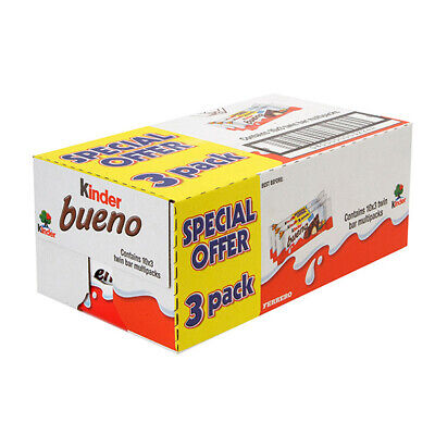 Kinder Bueno-10x3'Pack(Multipack) 30 Packs Full Case*Free Delivery* 55p Per Bar!
