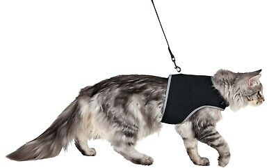 41895 BLACK Trixie Large Cat Full Soft Safety Harness with Lead EXTRA LARGE