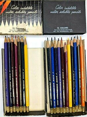 Vtg LOT of 18 Dixon Anadel Colored Pencils Water Soluble No. 122 Boxes Color Set