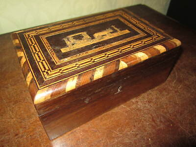 A Victorian or Edwardian Inlaid wooden box with working lock and key