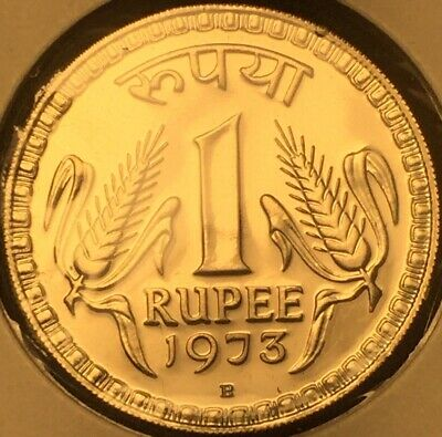 India 1973 B Mint Mark 1 Rupee Proof KM# 75.2 - Cameo - Please See Pictures