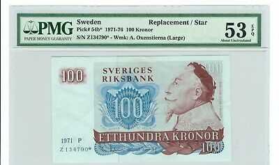 1971 SWEDEN 100 KRONOR REPLACEMENT NOTE P# 54b* PMG 53 EPQ
