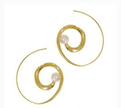 Gold Plated 21ct Brass Spiral Earrings with Faux Pearls by Ottoman Hands NWT