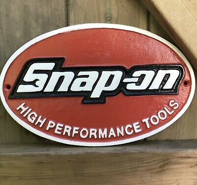 NEW LARGE 28cm Cast iron SNAP ON TOOLS SIGN, spanner workshop, garage, man cave