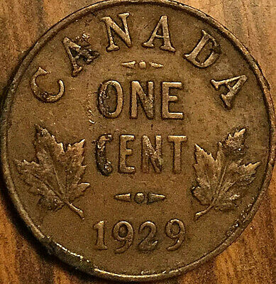 1929 CANADA SMALL CENT PENNY COIN - High 9 variety