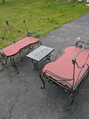 (2) Vintage French Cast Iron Garden Benches w / granite top tea table