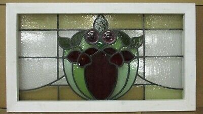 "OLD ENGLISH LEADED STAINED GLASS WINDOW Pretty Floral Transom 30.75"" x 17.75"""