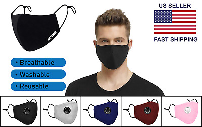 Face Mask Black Cotton Breathable Washable Reusable Covering