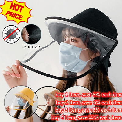 Bucket Hats Transparent Anti Saliva Face Shield Protection Splash Dust Proof A+