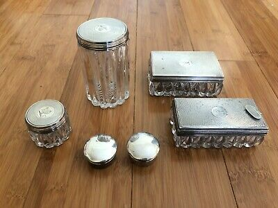 Vintage Crystal Sterling Silver Inlaid Wares Set