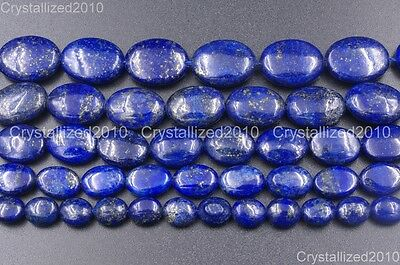 Natural Lapis Lazuli Gemstone Oval Beads 8mm 10mm 12mm 14mm 16mm 18mm 20mm 15.5""