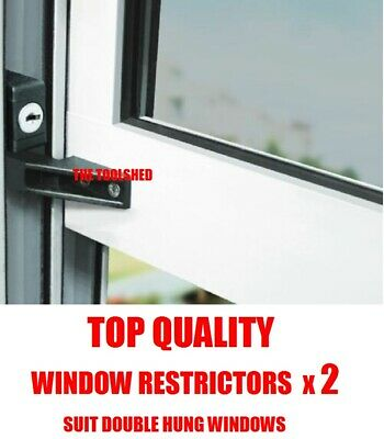 2X Quality Cowdroy Window Restrictors Double Hung Safety Security Child Protect