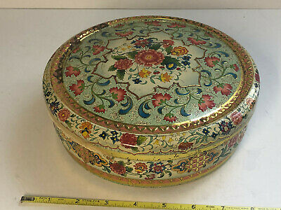 Antique Candy Tin Made In Holland Floral Pattern 8""
