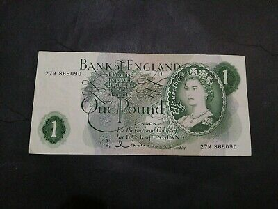 Bank of England 1 Pound Hollom (1962-1966) VG replacement