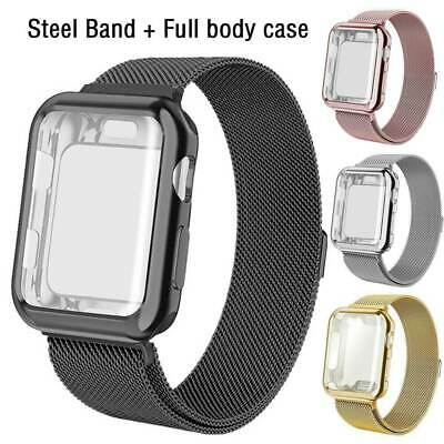 Milanese Magnetic iWatch Band + Full Body Case for Apple Watch Series 5 4 3 2 1