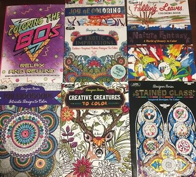 Adult Coloring Books Lot Of 8 Designer Series Nature Patterns Animals NEW