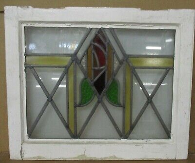 "OLD ENGLISH LEADED STAINED GLASS WINDOW Geometric Rose Design 20.75"" x 17"""