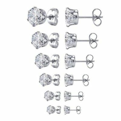 2 PC Surgical 316L Stainless Steel Stud Earrings Cubic Zirconia Round Men Women