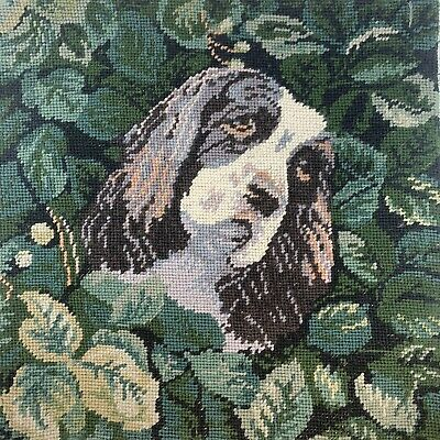 "English Cocker Spaniel Dog Needlepoint ONLY 14"" Handdone Handmade BEAUTIFUL Rare"