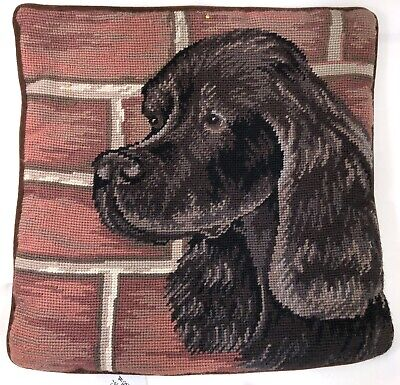 "Gordon Setter Dog Portrait Needlepoint Pillow Cover 13"" Velveteen Back w/Zipper"
