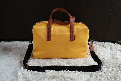 AWAY Perspectives Collection Everywhere Bag Milan Yellow Satin Carry On Duffle