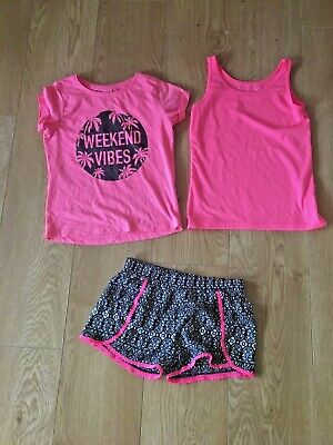 Girls Primark shorts 8-9 years with co ordinating pink t shirt and pink vest