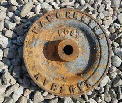 "Vintage old Cast Iron Vaughan MANCHESTER ENGLAND Pulley Wheel 7"" diameter"