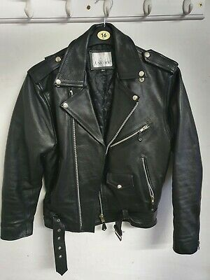 Mens classic Brando Biker style Real Leather Jacket #B2