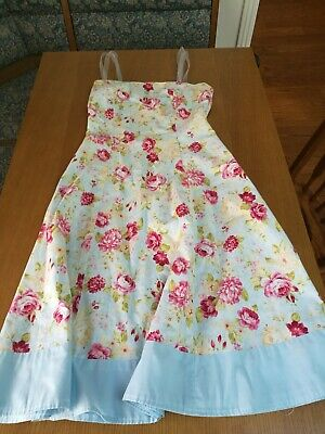 Ladies Blue Pink Cream Floral Rose Fit & Flare A-Line Lined Sleeveless Sundress
