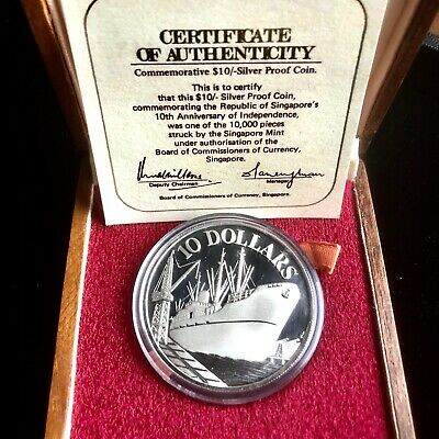 1975 SINGAPORE $10 SHIP 10th ANNIVERSARY PROOF SILVER COIN W ORIG BOX & COA