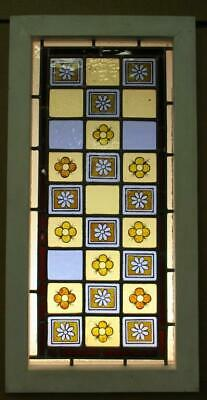 "VICTORIAN ENGLISH LEADED STAINED GLASS WINDOW Hand Painted Squares 14.75"" 29.25"""