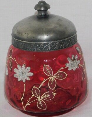 ATQ Victorian Thumbprint Cranberry Coin Dot Painted Enamel Pickle Biscuit Jar