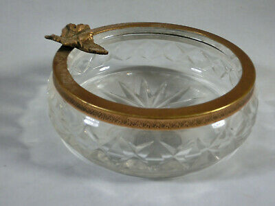 Antique Cut Glass and Brass Dish (1195)
