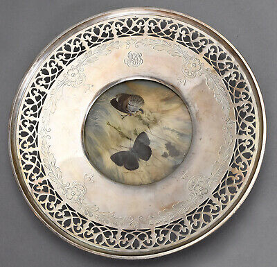 """Old Whiting Sterling Silver Plate 9-5/8"""" Reticulated Border w/ Butterfly Insert"""
