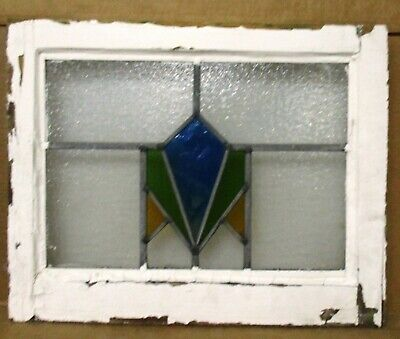 "OLD ENGLISH LEADED STAINED GLASS WINDOW Geometric, Streaky Blue 20.5"" x 16.25"""