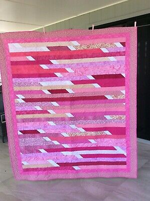 Handmade patchwork Quilt. Pink jelly roll race (#10)