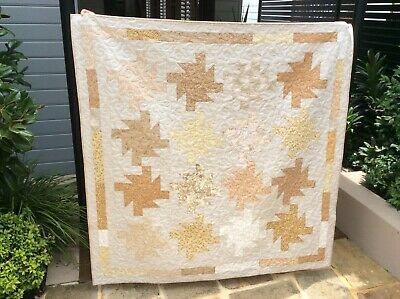 Handmade patchwork Quilt.  Starburst in Neutrals (#12)