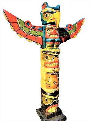 """Intricate Handcarved Wood 20"""" X 4 Inch Totem Pole With Detachable Wings"""