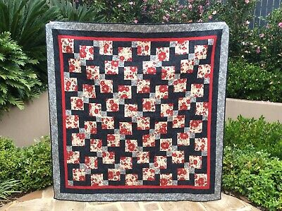 Handmade patchwork Quilt. Black, grey and red 9 patch (#15)