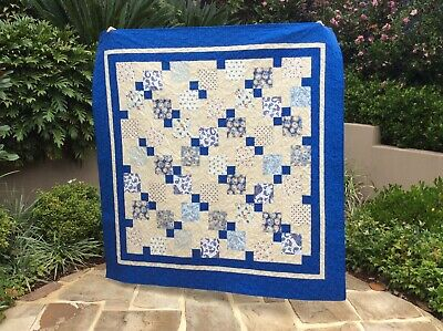 Handmade patchwork Quilt. Blue 9 patch (#17)