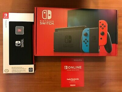 NEW Nintendo Switch Bundle w/ 128GB Sandisk 12 Month Online Family Plan And Case