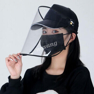 Full Face Covering Shield Anti Saliva Visor Safety Baseball Cap Hat Protective