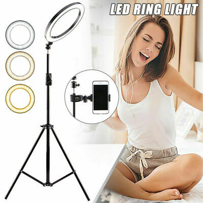 Studio LED Ring Light 3 Colour Dimmable Lamp Video Make-up Selfie Camera Phone