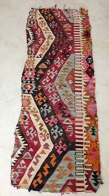 VINTAGE GEORGE SMITH KILIM sofa cover remnant multi color wool chevron woven