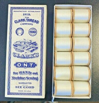 Vintage Original Clark Thread Co. Box of 12 White Thread Wooden Spools