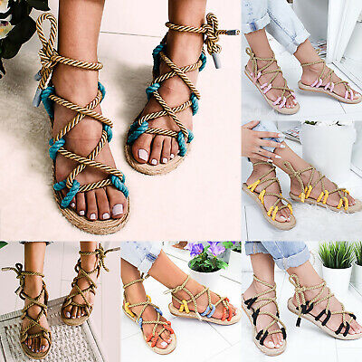 UK Women Lace Up Flat Espadrille Sandals Gladiator Summer Beach Rope String Shoe