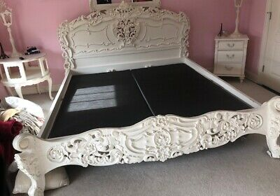 Exquisite Vintage Shabby French Ornate King Bed Headboard And Footboard *Chic*